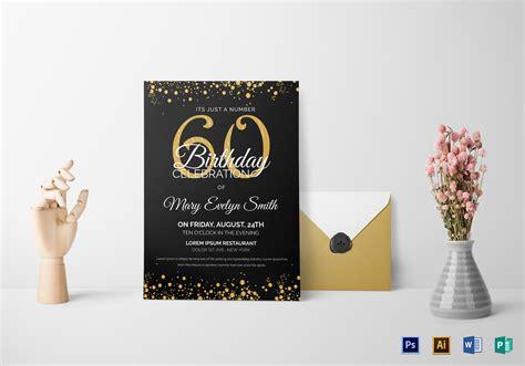 Black and Gold 60th Birthday Party Invitation Design