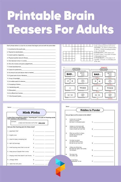 printable brain teasers  adults printableecom