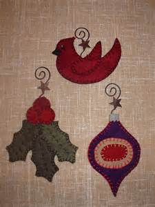 penny rug 3 christmas ornaments pattern set 2 for wool felt embroidery ebay