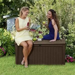 Auflagenbox Mit Sitzfunktion : keter garten box aufbewahrungsbox holzoptik borneo 400 liter ~ Buech-reservation.com Haus und Dekorationen