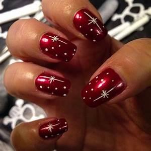 47 Christmas Nail Art Designs Red Base with Silver Polka ...