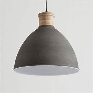 Cement grey and wood pendant light by horsfall wright