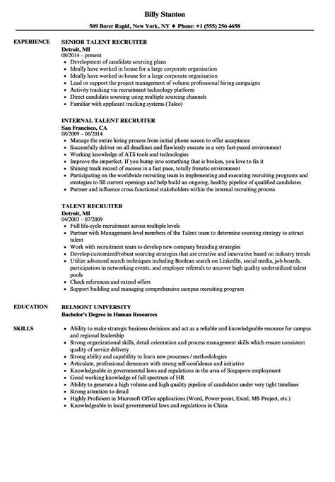 Talent Resume by Talent Recruiter Resume Sles Velvet