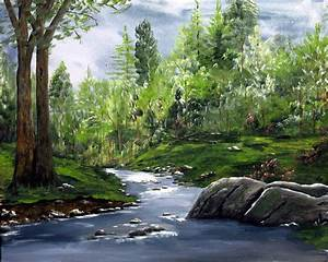 Acrylic hand painted landscape landscape painting mountain