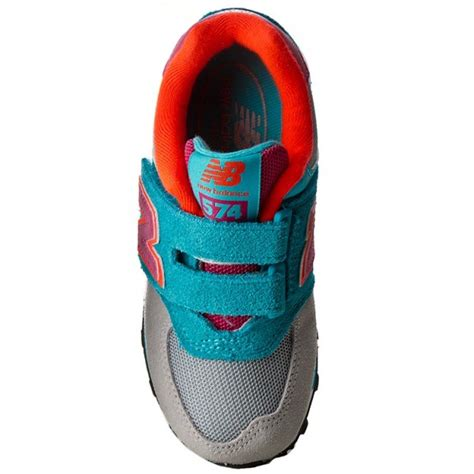 colorful new balance 574 sneakers new balance kv574wty blue colourful velcro