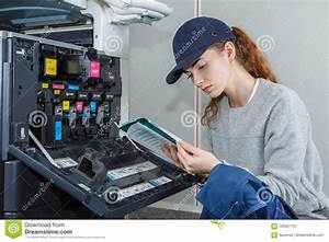 Reading Printer Manual And Description Guide Stock Image