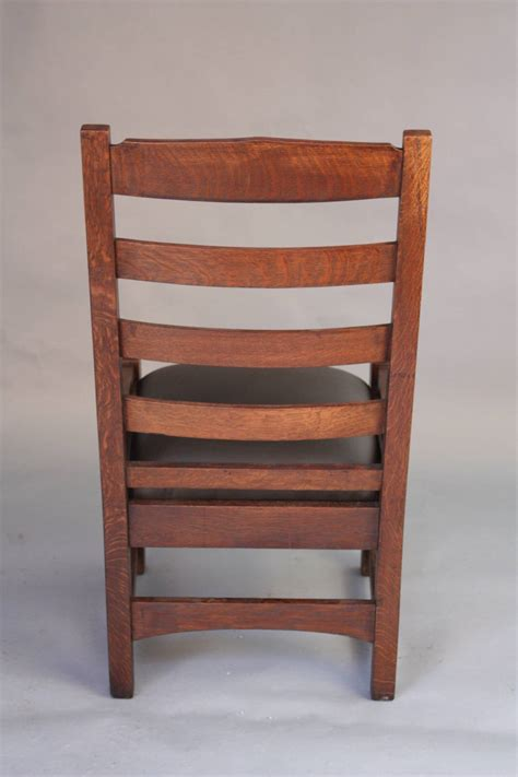 1910 arts and crafts mission oak ladder back chair for