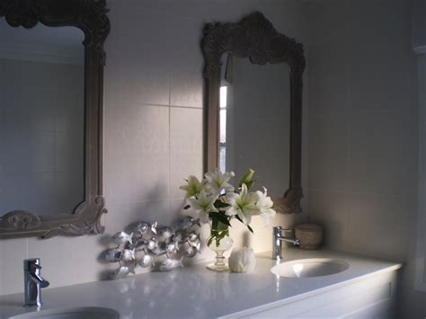 Ornate Bathroom Mirror by Gray Ornate Mirror Transitional Bathroom The House