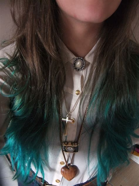 Teal Dip Dye Hair Colors Ideas