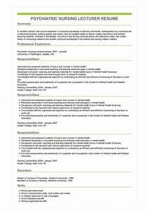 Summary Skills Examples Sample Psychiatric Nursing Lecturer Resume
