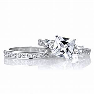 princess cut diamond engagement ring sets diamondstud With princess cut diamond engagement ring and wedding band set