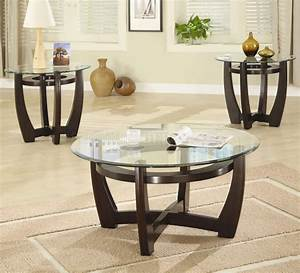 cappuccino finish base glass top modern 3pc coffee table set With glass coffee table set of 3