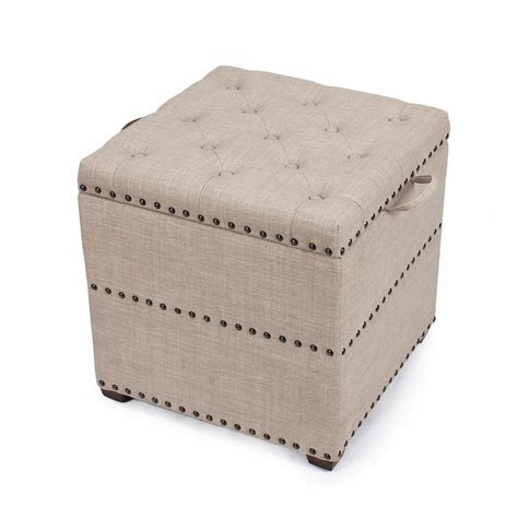 Adeco Begie Square Ottoman With Tray & Storage   FT0048 3