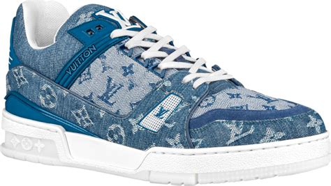louis vuitton blue denim lv trainer sneakers incorporated style