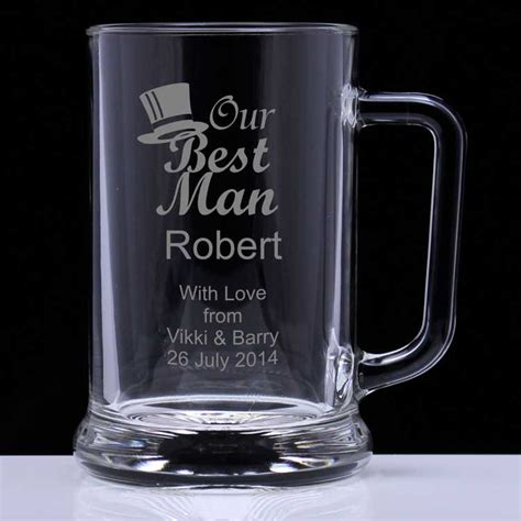 man personalised glass tankard engrave  gift