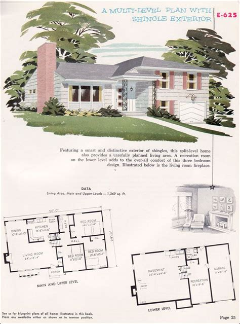 split level house plans 1950s home designs split level cottage style house plans floor plans