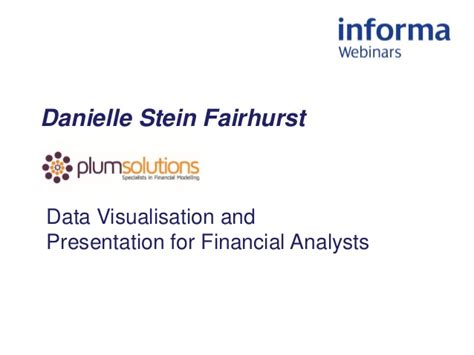 Webinar Data Visualisation And Presentation For Financial Analysts