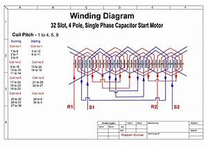 32 Slot 4 Pole Induction Motor Winding Diagram