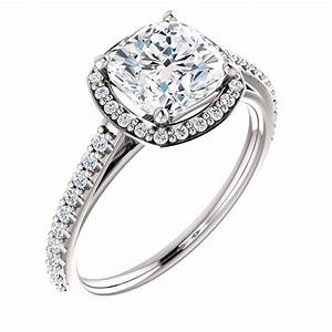 14K White or Yellow Gold 1.5 CT Moissanite Cushion Cut ...