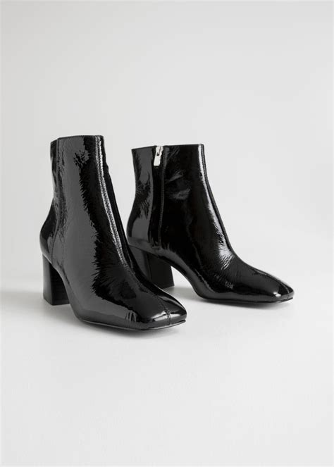 stories leather patent square toe ankle boots  black lyst