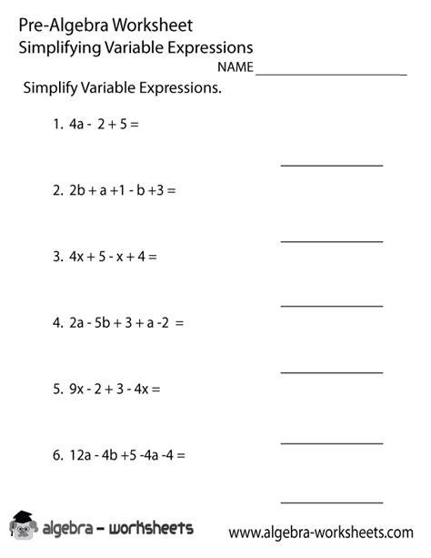 variable expressions pre algebra worksheet pre algebra