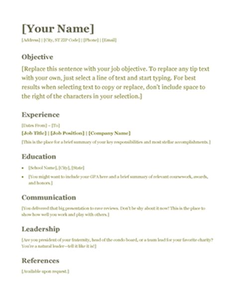 simple text resume template resume green office templates