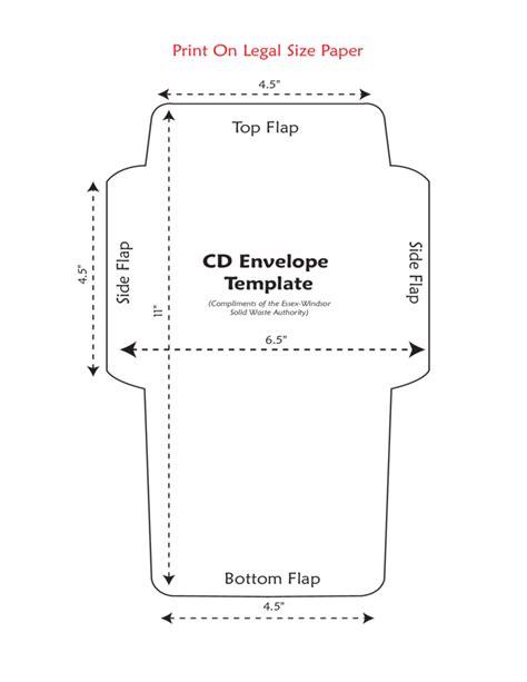 standard cd envelope template