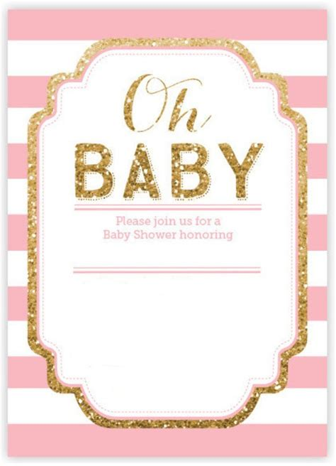 gold  pink baby shower invitations