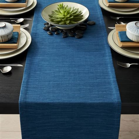 Top Kitchen Ideas - grasscloth 90 quot corsair blue table runner crate and barrel
