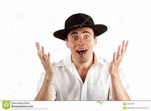 Expressive Happy Surprised Man In Hat Royalty Free Stock ...