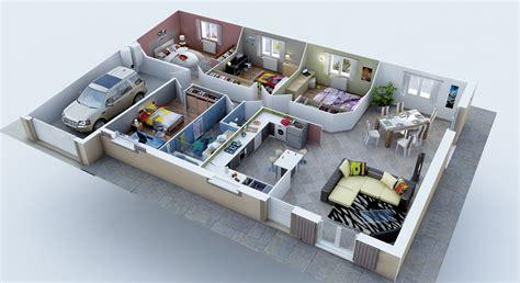 cuisine americaine appartement plan maison 3d 3 chambres immobilier pour tous