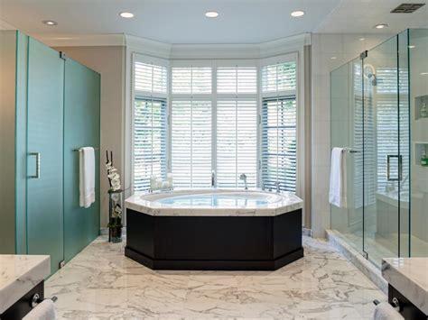 bay window  neutral spa bathroom hgtv