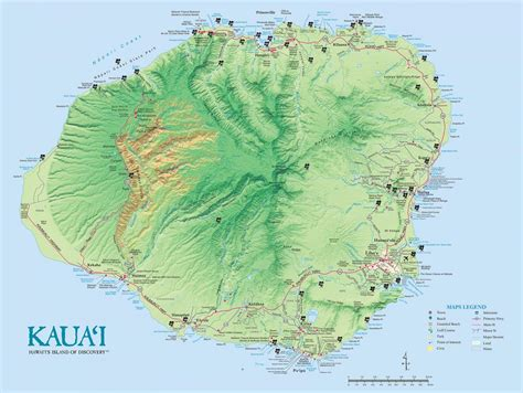 kauai island maps geography  hawaii