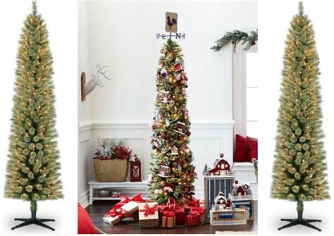 7ft. Pre-lit Pencil Christmas Tree Only .99