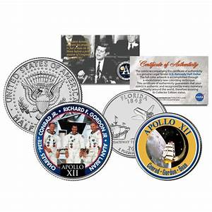 APOLLO 12 XII SPACE MISSION Colorized 2-Coin Set U.S ...