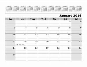 2016 monthly calendar template with 12 months at top With 12 month planner template