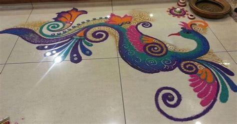 peacock rangoli designs  diwali rangoli rangoli