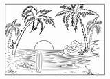 Coloring Island Paradise Beach Landscapes Palm Sun Setting Trees Landscape Tropical Adults Pages Adult Surfboard sketch template