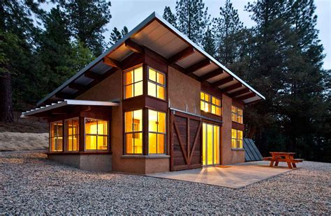 Small Cabin Style, Straw Bale Walls, Nice Sloped Roof