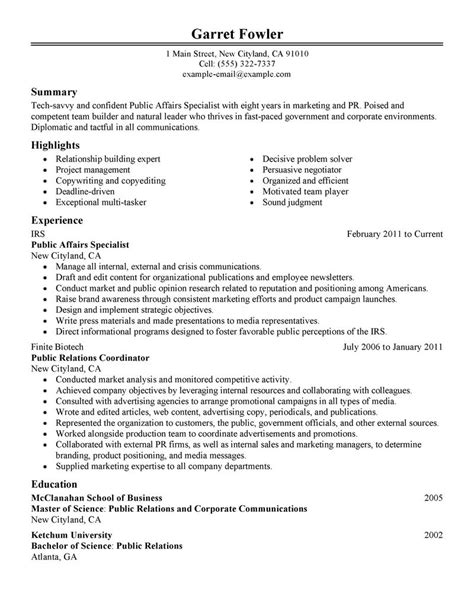 exles of resumes a sle resume for internship