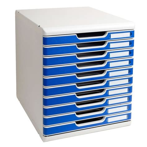 module de rangement 10 tiroirs modulo gris bleu exacompta arc registres