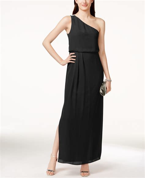 papell draped gown papell by one shoulder chiffon draped