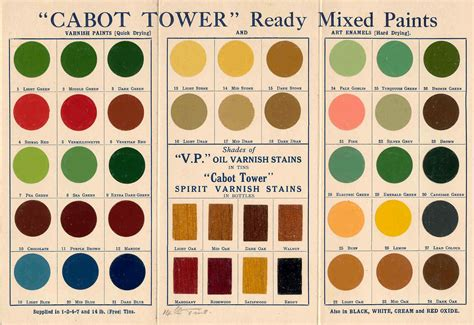 quot cabot tower quot ready mixed paint 1930s colour card