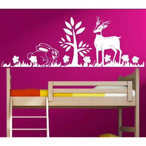 Wandtattoo Kinderzimmer Hase by Wandtattoo Kinderzimmer Hase Und Rehkitz Spielen Im Wald
