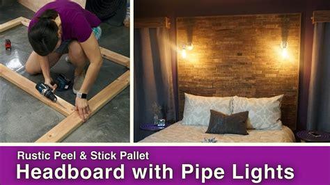 rustic peel stick pallet headboard  pipe lights