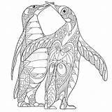 Coloring Penguin Pages Penguins Adults Zentangle Adult Emperor Stylized Printable Pittsburgh Sheets Kissing Cartoon Vector Everfreecoloring Doodle Hugging Antistress Drawn sketch template