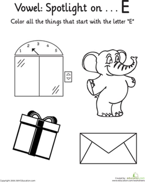 things that start with the letter e things that start with e vowel spotlight worksheet 30321