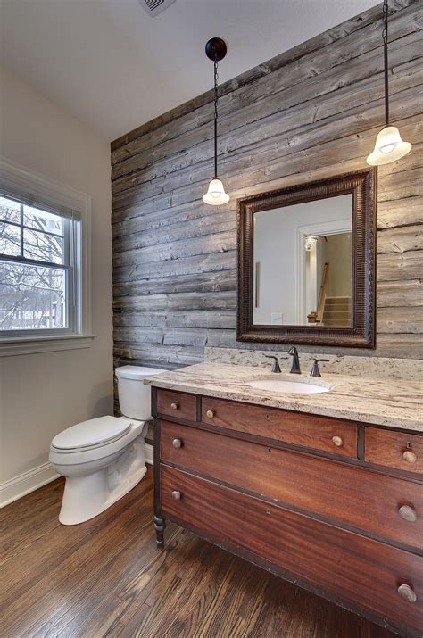 Powderroom With Barnwood Accent Wall Vanity From