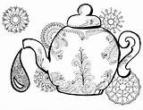 Tea Coloring Pages Teapot Adult Alice Wonderland Colouring Drawing Printable Adults Kettle Party Clip Finland Template Getdrawings Getcolorings Books Easy sketch template