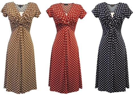 vintage dress 70 s slinky slinky vtg ww2 land 1940s 50s polka dot